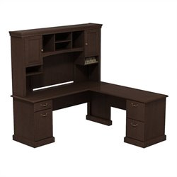 Bush BBF Syndicate 72W X 72D L-Desk with Hutch in Mocha Cherry