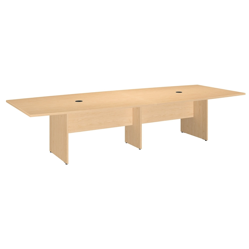 Bush Business Boat Shaped Conference Table with Wood Base in Maple