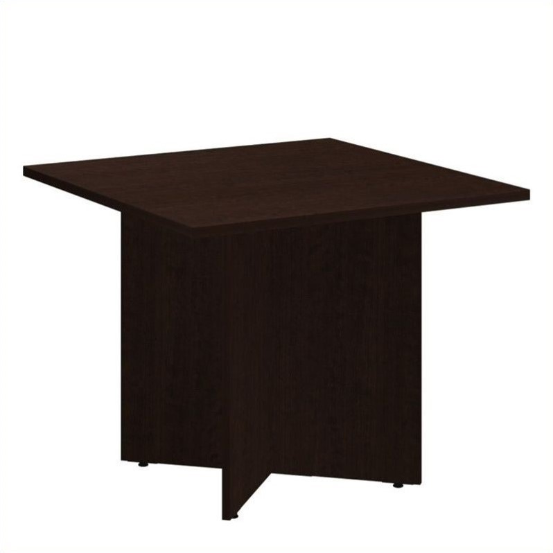 Bush BBF 36 Inch Square Conference Table - Wood Base in Mocha Cherry