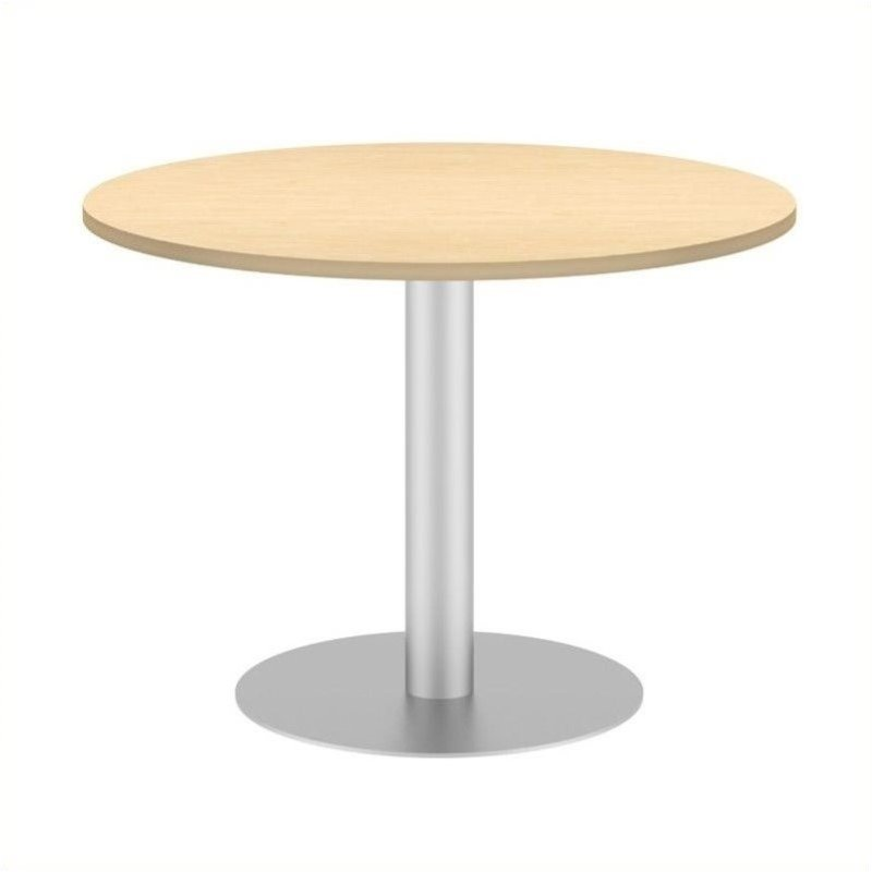 Bush BBF 42W Round Conference Table Kit - Metal Disc Base in Natural Maple