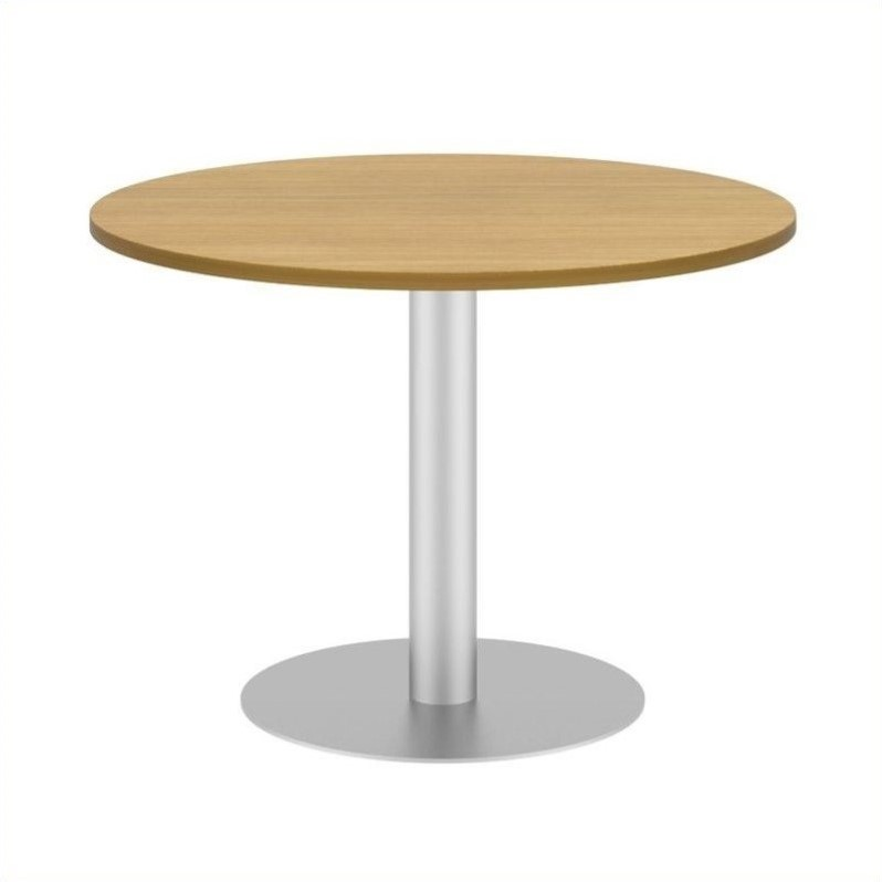 Bush BBF 42W Round Conference Table Kit - Metal Disc Base in Modern Cherry