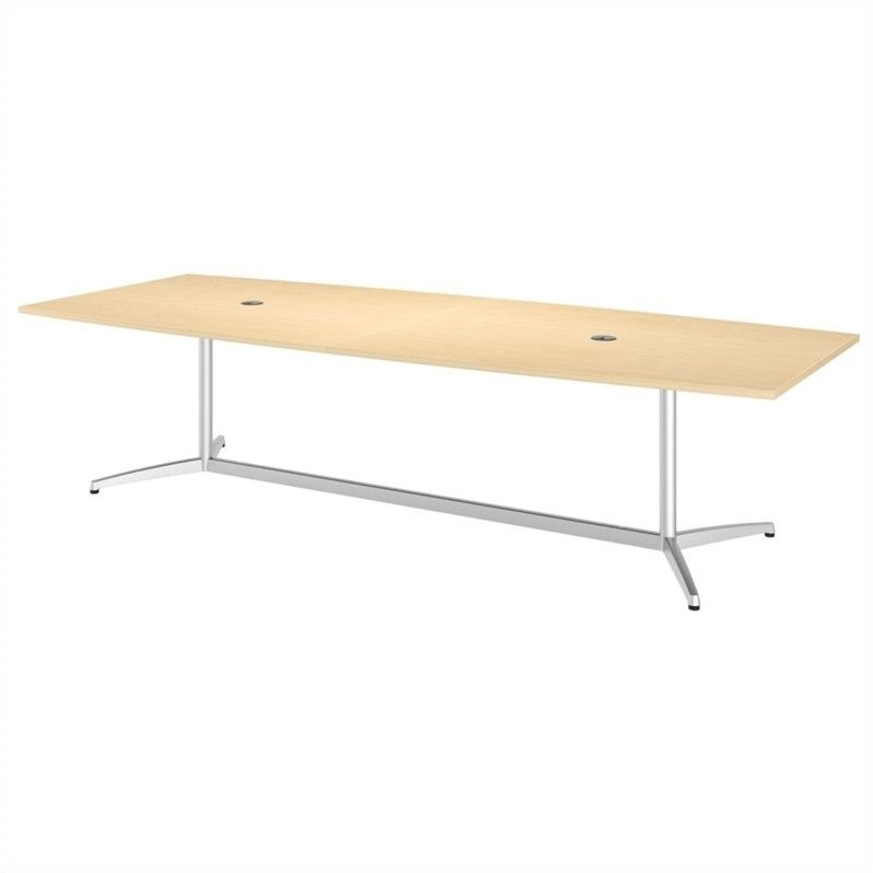 Bush BBF 120L x 48W Conference Table Kit - Metal Base in Natural Maple