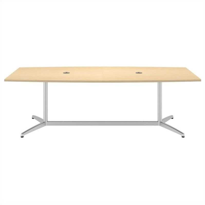 Bush BBF 96L x 42W Conference Table Kit - Metal Base in Natural Maple