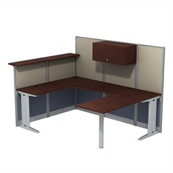 Bush BBF Office-in-an-Hour U-Workstation with Storage in Hansen Cherry