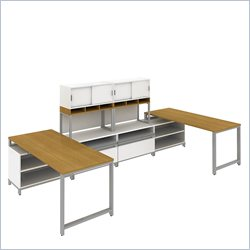 Bush BBF Momentum Floating 2 Person Station with Hutch and Piler-Filer in Modern Cherry