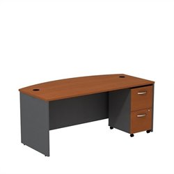 Bush BBF Series C 72W x 36D Bowfront Shell Desk with Mobile Pedestal in Auburn Maple