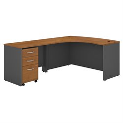Bush BBF Series C 60W x 43D LH L-Desk with 3Dwr Mobile Pedestal in Natural Cherry