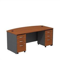 Bush BBF Series C 72W x 36D Bowfront Shell Desk with 3Dwr Mobile Pedestals in Auburn Maple