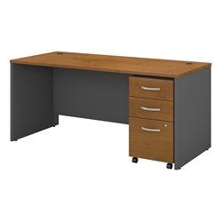 Bush BBF Series C 66W x 30D Shell Desk with 3Dwr Mobile Pedestal in Natural Cherry