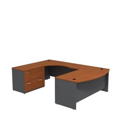 Bush BBF Series C 72W x 36D Bowfront Desk in LH U-Station with Lateral File in Auburn Maple