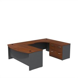 Bush BBF Series C 72W x 36D Bowfront Desk in RH U-Station with Lateral File in Hansen Cherry