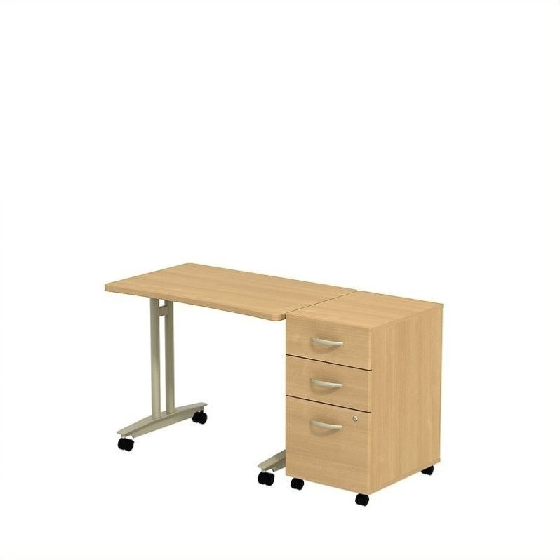 Bush Business Series C Adjustable Table with Pedestal in Light Oak