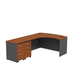 Bush BBF Series C 60W x 43D Bowfront LH L-Desk with 2 -Mobile Pedestals in Auburn Maple