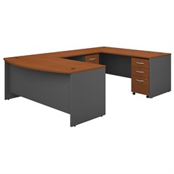 Bush BBF Series C 72W x 36D Bowfront U-Station with 2 - Mobile Pedestals in Auburn Maple