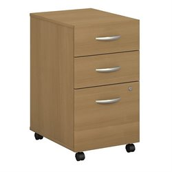 Bush BBF Series C 3Dwr Mobile Pedestal (Assembled) in Light Oak