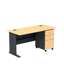 Bush BBF Series A 60W X 27D Desk with 3Dwr mobile Pedestal in Beech