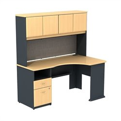 Bush BBF Series A Expandable Corner Desk with 60W Hutch Storage in Beech