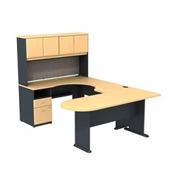 Bush Business Series A U-Workstation with Hutch in Beech