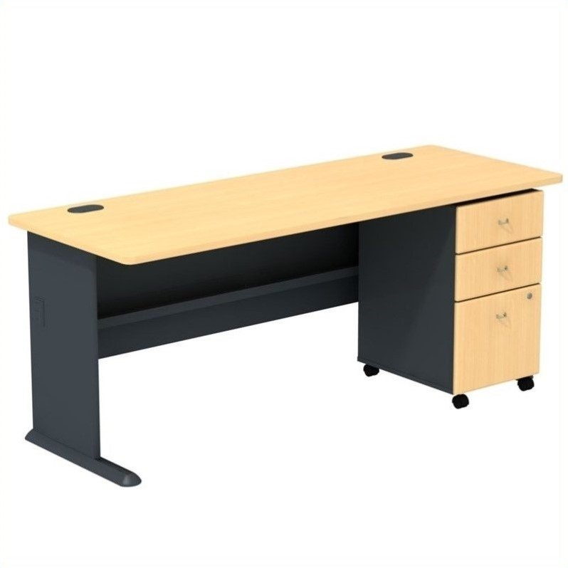 Bush BBF Series A 72W Desk with 3Dwr Mobile Pedestal (Assembled) in Beech
