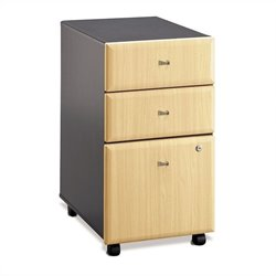 Bush Business Furniture Series A Mobile Pedestal (Assembled) Beech