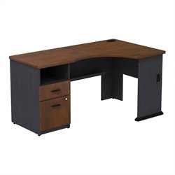 Bush BBF Series A Expandable Single 2Dwr Pedestal Corner Desk in Hansen Cherry