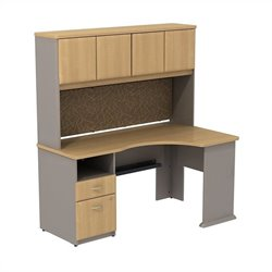 Bush BBF Series A Expandable Desk with Hutch Storage in Light Oak