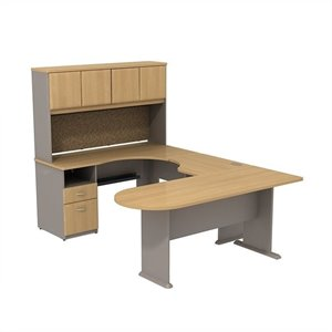 BBF Series A U Shaped Desk with Hutch and Storage in Light Oak