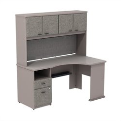 Bush BBF Series A Expandable Corner Desk with 60W Hutch Storage in Pewter