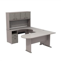 Bush BBF Series A U-Workstation with Hutch in Pewter
