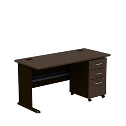 Bush BBF Series A 60W X 27D Desk with 3Dwr mobile Pedestal in Sienna Walnut