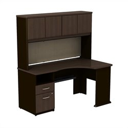 Bush BBF Series A Expandable Corner Desk with 60W Hutch Storage in Sienna Walnut