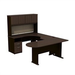 Bush BBF Series A U-Workstation with Hutch in Sienna Walnut