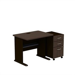 Bush BBF Series A 36W X 27D Desk with 3Dwr Mobile Pedestal in Sienna Walnut