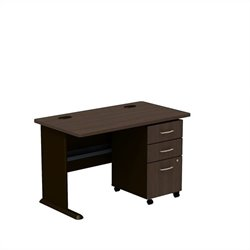 Bush BBF Series A 48W Desk with 3Dwr Mobile Pedestal (Assembled) in Sienna Walnut
