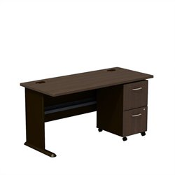 Bush BBF Series A 60W Desk with 2Dwr Mobile Pedestal (Assembled) in Sienna Walnut