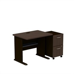 Bush BBF Series A 36W Desk with 2Dwr Mobile Pedestal (Assembled) in Sienna Walnut