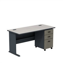 Bush BBF Series A 60W X 27D Desk with 3Dwr mobile Pedestal in Slate