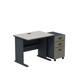 Bush BBF Series A 36W X 27D Desk with 3Dwr Mobile Pedestal in Slate