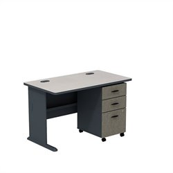 Bush BBF Series A 48W Desk with 3Dwr Mobile Pedestal (Assembled) in Slate