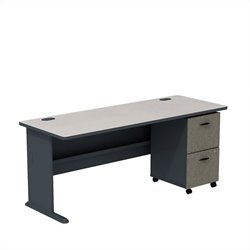 Bush BBF Series A 72W Desk with 2Dwr Mobile Pedestal (Assembled) in Slate