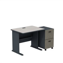 Bush BBF Series A 36W Desk with 2Dwr Mobile Pedestal (Assembled) in Slate