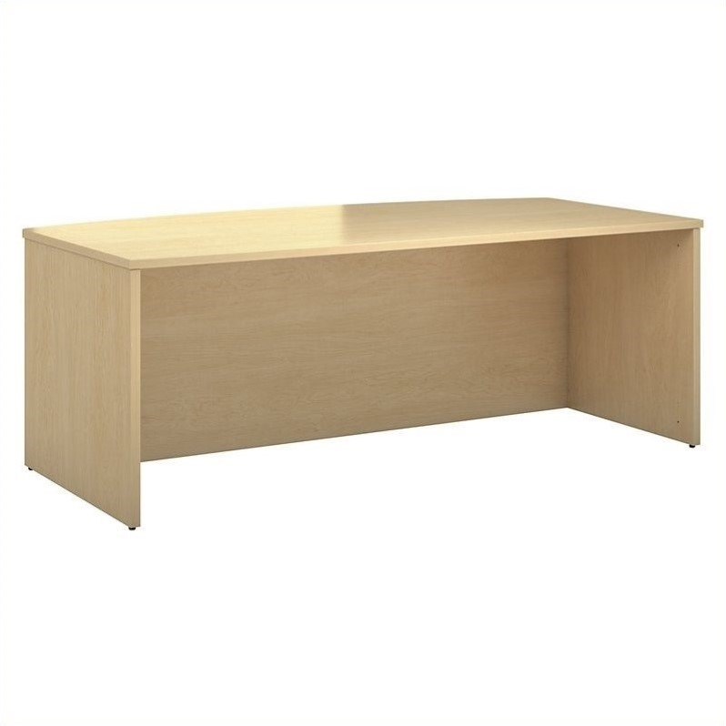 Bush BBF 300 Series 72W x 36D Bowfront Shell Desk Kit in Natural Maple