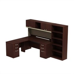 Bush Business Furniture Quantum LH L Shaped Office Set Harvest Cherry