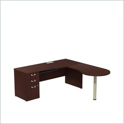 Bush BBF Quantum 72W X 30D LH Single Pedestal Desk 3Dwr with Peninsula in Harvest Cherry