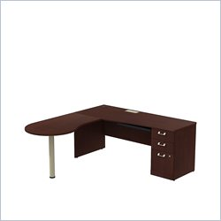 Bush BBF Quantum 72W X 30D RH Single Pedestal Desk 3Dwr with Peninsula in Harvest Cherry