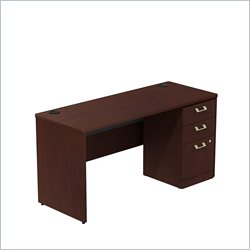 Bush BBF Quantum 60W X 24D Single Pedestal Desk Credenza 3Dwr in Harvest Cherry