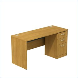 Bush BBF Quantum 60W X 24D Single Pedestal Desk Credenza 3Dwr in Modern Cherry