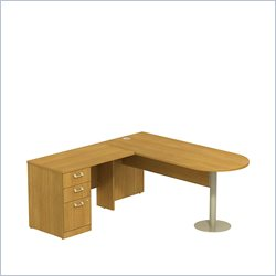 Bush BBF Quantum 72W X 30D LH Peninsula L-Desk and 3Dwr Pedestal in Modern Cherry