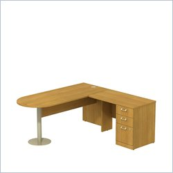 Bush BBF Quantum 72W X 30D RH Peninsula L-Desk and 3Dwr Pedestal in Modern Cherry
