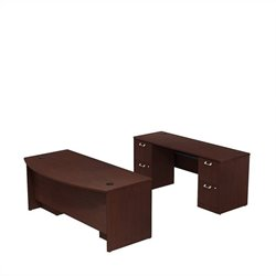 Bush BBF Quantum 72W X 36D Double Pedestal Bowfront and Credenza in Harvest Cherry